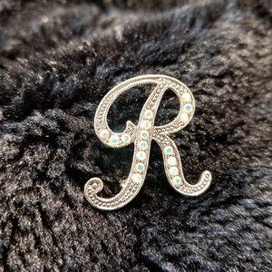 Rhinestone Initial R pin